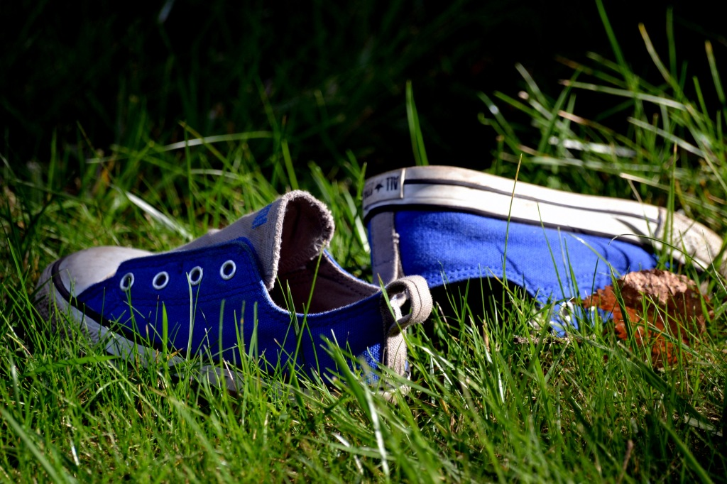 shoes in the grass
